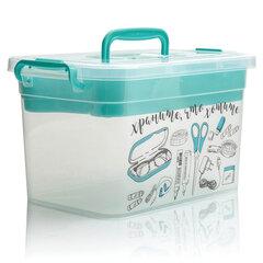 """Ящик 7 л, с крышкой на защелках + вкладыш, """"Для важных мелочей"""", 18х31х20 см, пластиковый, синий, прозрачный, 4380902"""