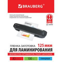 Пленки-заготовки для ламинирования БОЛЬШОГО ФОРМАТА, А3, КОМПЛЕКТ 100 шт., 125 мкм, BRAUBERG, 530799