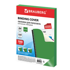 Обложки картонные для переплета, А4, КОМПЛЕКТ 100 шт., глянцевые, 250 г/м2, зеленые, BRAUBERG, 530954
