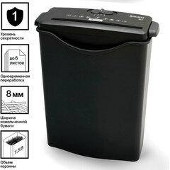 Уничтожитель (шредер) BRAUBERG S6-S, 1 уровень секретности, полоски 8 мм, 6 листов, 7,5 л