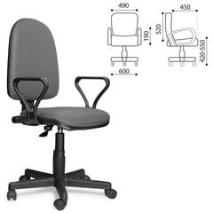 """Кресло """"Престиж"""", регулируемая спинка, с подлокотниками, кожзам, серое"""