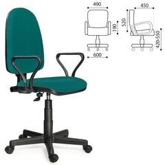 """Кресло """"Престиж"""", регулируемая спинка, с подлокотниками, зеленое"""