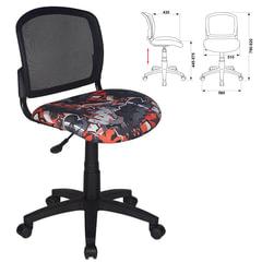 Кресло CH-296NX/GRAFFITY, без подлокотников, черное с рисунком