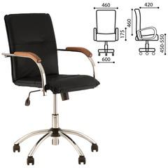 """Кресло """"Samba GTP"""", деревянные накладки, хром, кожзам черный"""