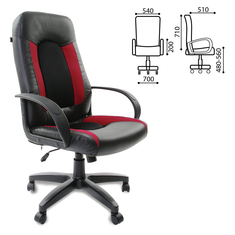 """Кресло офисное BRABIX """"Strike EX-525"""", экокожа черная, ткань черная/бордовая, TW, 531379"""