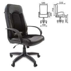 """Кресло офисное BRABIX """"Strike EX-525"""", экокожа черная, ткань черная, TW, 531381"""
