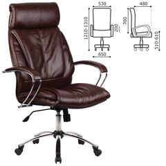 """Кресло офисное МЕТТА """"LK-13CH"""", кожа, хром, коричневое"""