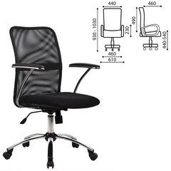 """Кресло оператора МЕТТА """"FK-8CH"""", с подлокотниками, ткань-сетка, хром, черное"""