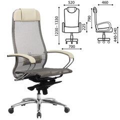 """Кресло офисное МЕТТА """"SAMURAI"""" S-1, сверхпрочная ткань-сетка, бежевое"""