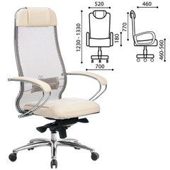 """Кресло офисное МЕТТА """"SAMURAI"""" SL-1, сверхпрочная ткань-сетка/кожа, бежевое"""