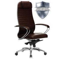"""Кресло офисное МЕТТА """"SAMURAI"""" KL-1.04, кожа, темно-коричневое"""