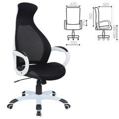 """Кресло офисное BRABIX PREMIUM """"Genesis EX-517"""", пластик белый, ткань/экокожа/сетка черная"""