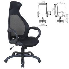 """Кресло офисное BRABIX PREMIUM """"Genesis EX-517"""", пластик черный, ткань/экокожа/сетка черная"""