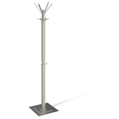 Вешалка-стойка SHT-CR11, 1,8 м, основание 40 см, 5 крючков + 2 дополнительных, дерево/металл, беленый/хром