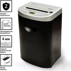 Уничтожитель (шредер) BRAUBERG S22-S, 2 уровень секретности, полоски 4 мм, 22 листа, 34 л, CD, 531773