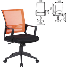 Кресло BRABIX Balance MG-320, с подлокотниками, комбинированное черное/оранжевое