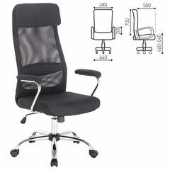 """Кресло офисное BRABIX """"Flight EX-540"""", хром, ткань, сетка, черное, 531847"""