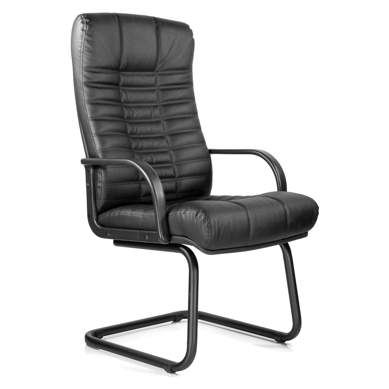 """Кресло для приемных и переговорных """"Атлант"""", кожа, черное"""