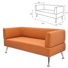 "Диван мягкий трехместный ""Норд"", ""V-700"", 1560х720х730 мм, c подлокотниками, экокожа, оранжевый"