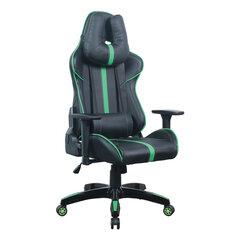 """Кресло компьютерное BRABIX """"GT Carbon GM-120"""", две подушки, экокожа, черное/зеленое, 531929"""