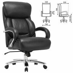 """Кресло офисное BRABIX PREMIUM """"Pride HD-100"""", НАГРУЗКА до 250 кг, натуральная кожа, черное, 531940"""