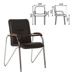 """Кресло для приемных и переговорных """"Samba T plast"""" со столиком, хромированный каркас, кожзам, черный"""