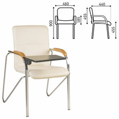 """Кресло для приемных и переговорных """"Samba T plast"""" со столиком, хромированный каркас, кожзам бежевый"""