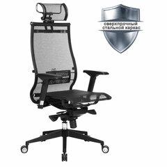 """Кресло офисное МЕТТА """"SAMURAI"""" Black Edition, сверхпрочная сетка, регулируемое, черное"""