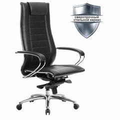 """Кресло офисное МЕТТА """"SAMURAI"""" Lux 2, кожа, регулируемое сиденье, черное"""