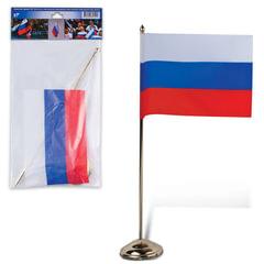 Флаг России, 12х18 см, настольный с флагштоком, высота 30 см, пластик под золото, упаковка с европодвесом