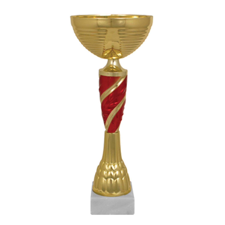 """Кубок металлический """"Янита"""" (100х100х270 мм), основание мрамор, """"золото"""", стем красный"""