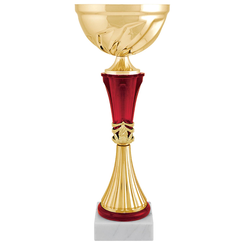 """Кубок металлический """"Авдей"""" (100х100х350 мм), основание мрамор, """"золото"""", стем красный"""