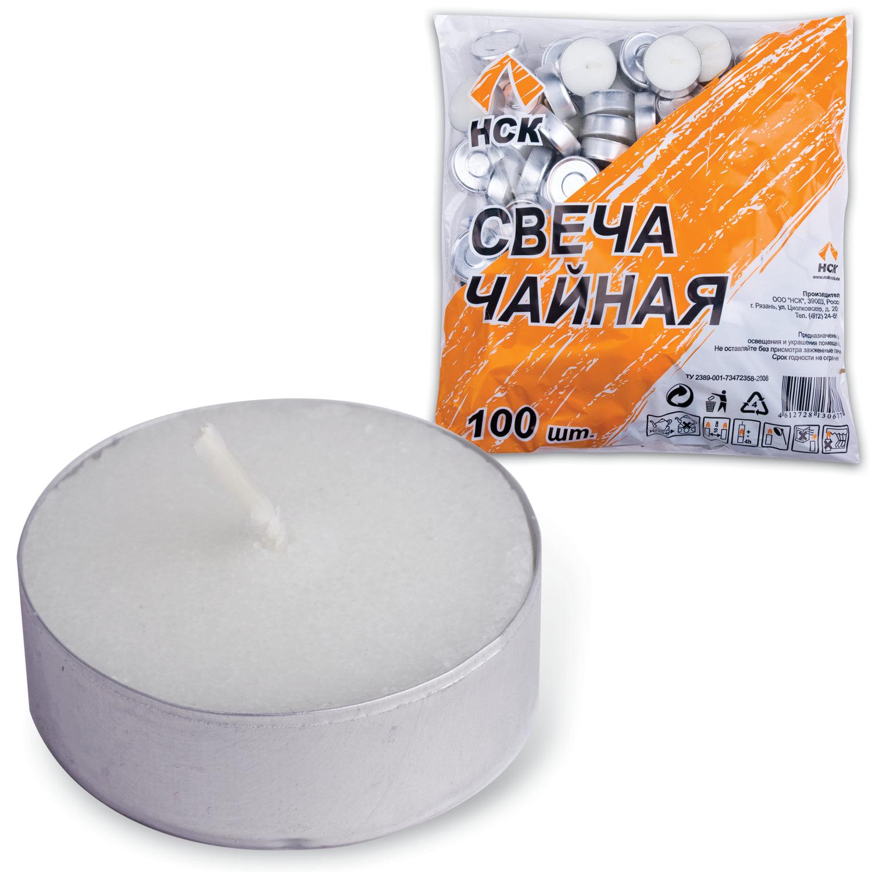 Свечи чайные в гильзе, комплект 100 шт., в пакете