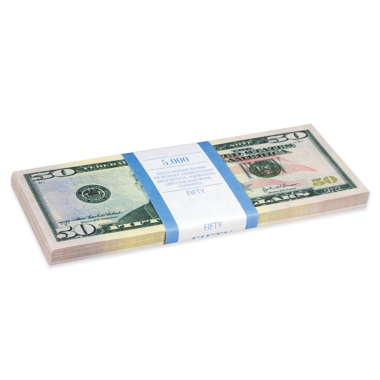 """Деньги шуточные """"50 долларов"""", упаковка с европодвесом"""