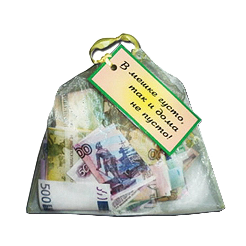 """Сувенир мешочек с деньгами """"В мешке густо, так и дома не пусто"""", прозрачный, BX00000035"""