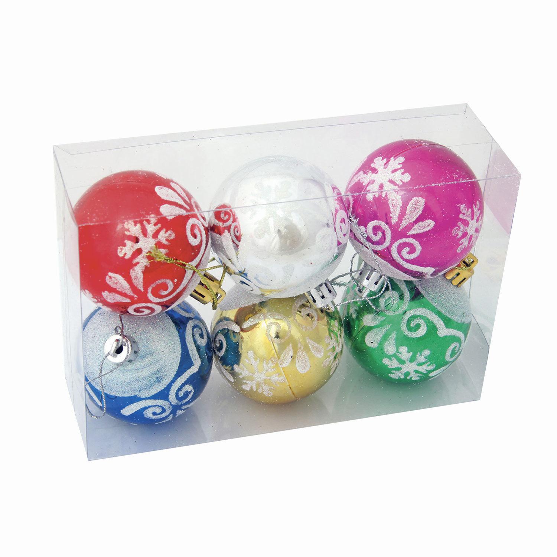 Шары елочные, НАБОР 6 шт., пластик, диаметр 6 см, с рисунком глиттером, ассорти 6 цветов (глянец), 59619