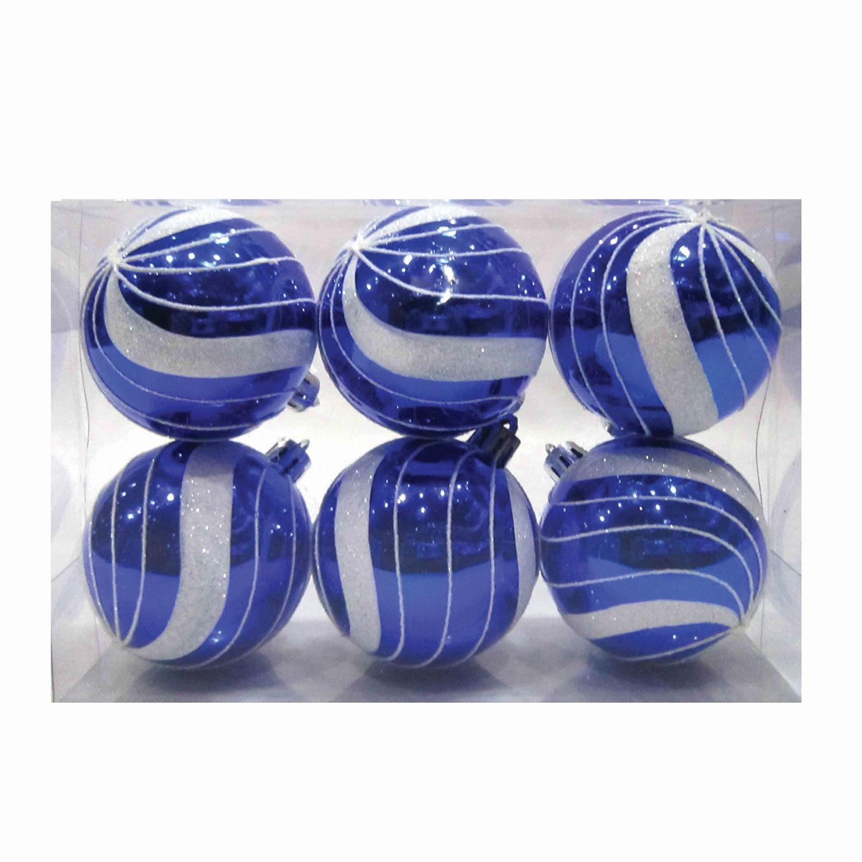 Шары елочные, НАБОР 6 шт., пластик, диаметр 6 см, с рисунком глиттером, цвет синий (глянец)