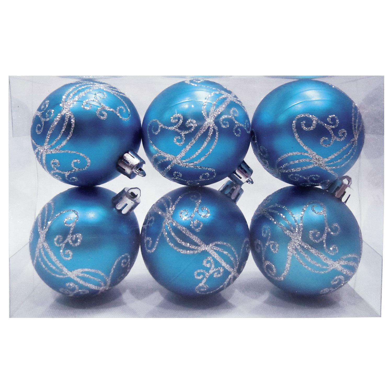 Шары елочные, НАБОР 6 шт., пластик, диаметр 6 см, с рисунком глиттером, цвет голубой (глянец)