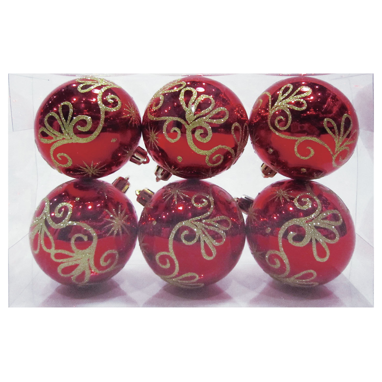 Шары елочные, НАБОР 6 шт., пластик, диаметр 6 см, с рисунком глиттером, цвет красный (глянец)