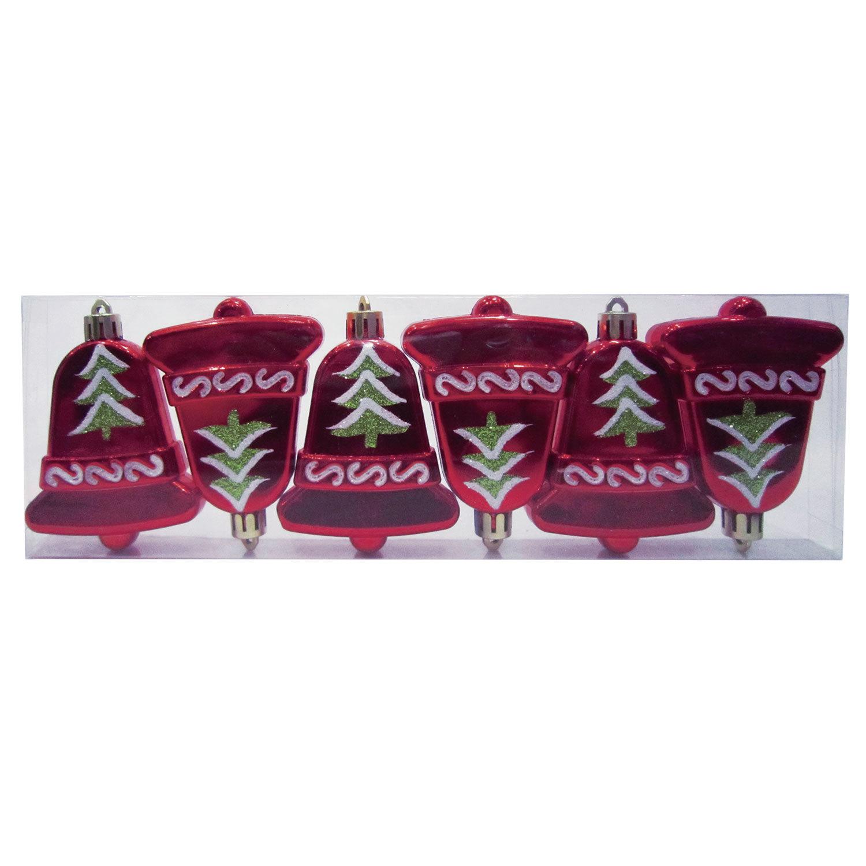 """Украшения елочные подвесные """"Колокольчики"""", НАБОР 6 шт., 8 см, пластик, с рисунком, красные"""