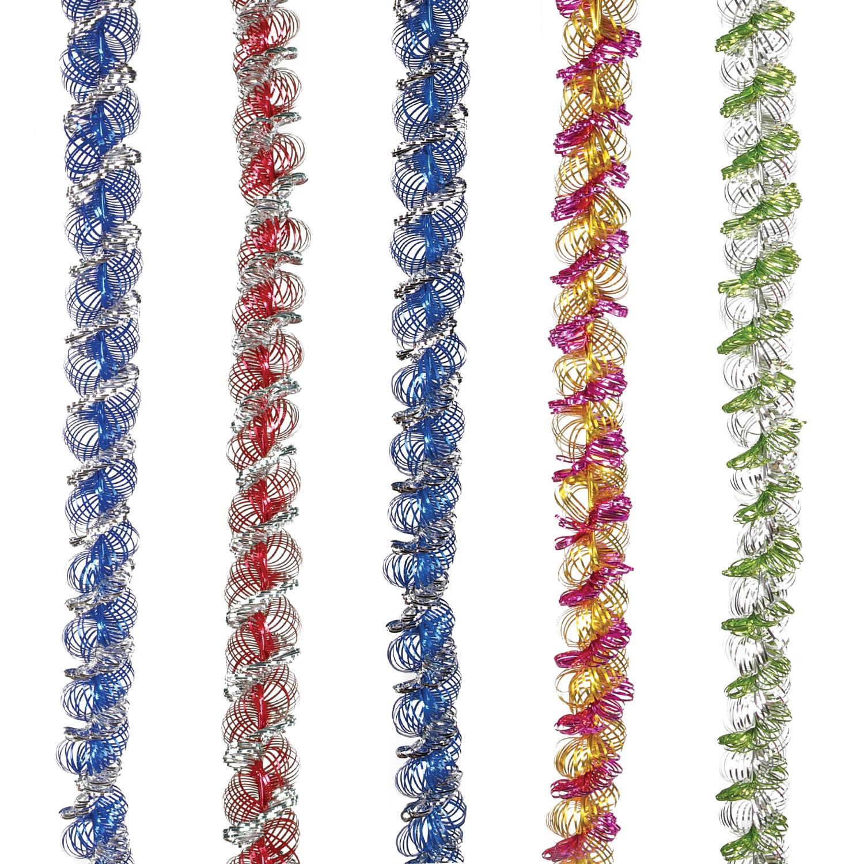 """Мишура """"Спираль двойная"""", 1 штука, диаметр 35 мм, длина 2 м, ассорти 5 цветов"""