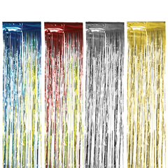 Дождик новогодний, ширина 150 мм, длина 2 м, ассорти (серебро, золото, красный, синий), ДН-150