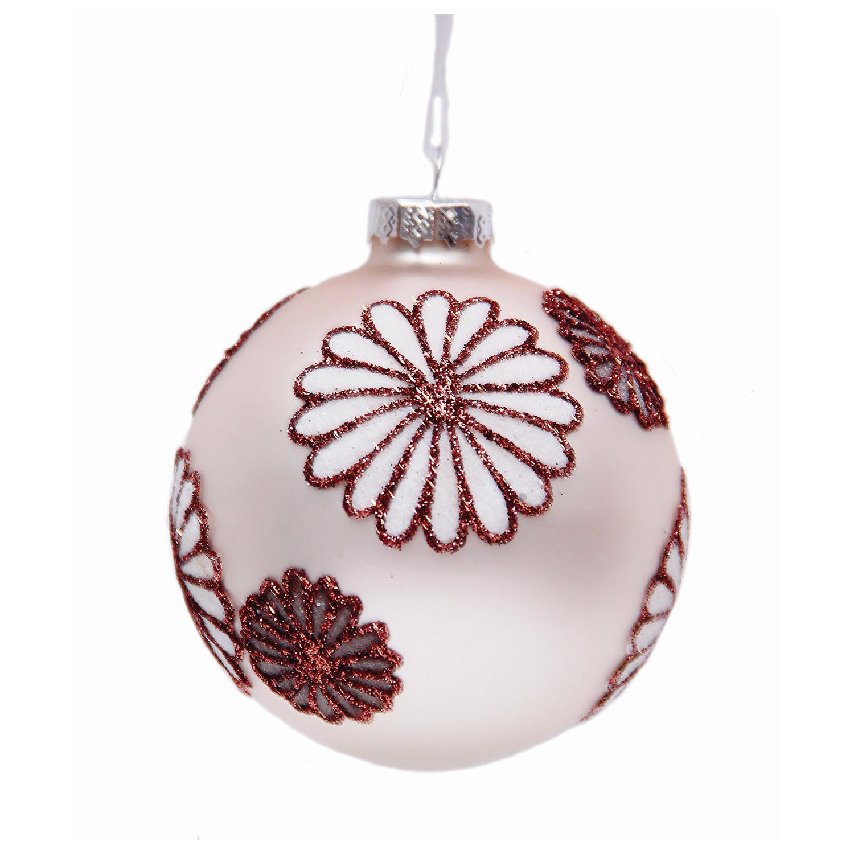 """Шар елочный стеклянный """"Снежные цветы"""", диаметр 8 см, с рисунком глиттером (матовый)"""