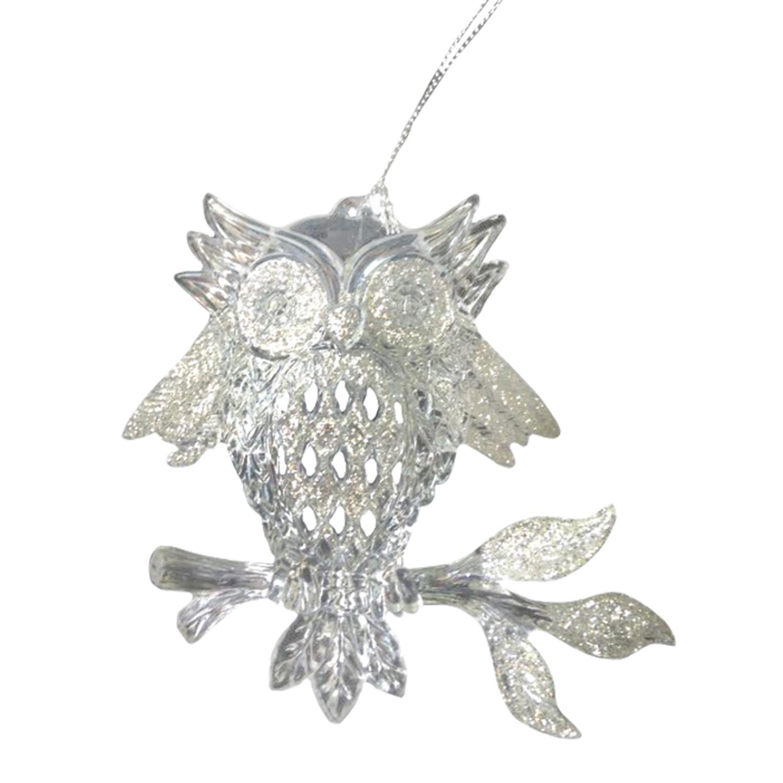 "Украшение елочное подвесное ""Сова"", 10,8 см, пластик, серебро"