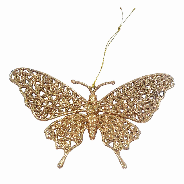 """Украшение елочное подвесное """"Золотая бабочка"""", 16,7х10 см, пластик"""