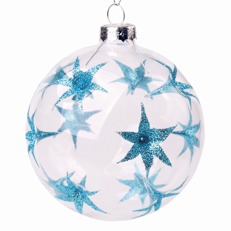 """Шар елочный стеклянный """"Голубые цветы"""", диаметр 8 см, с рисунком (глянец), 75850"""