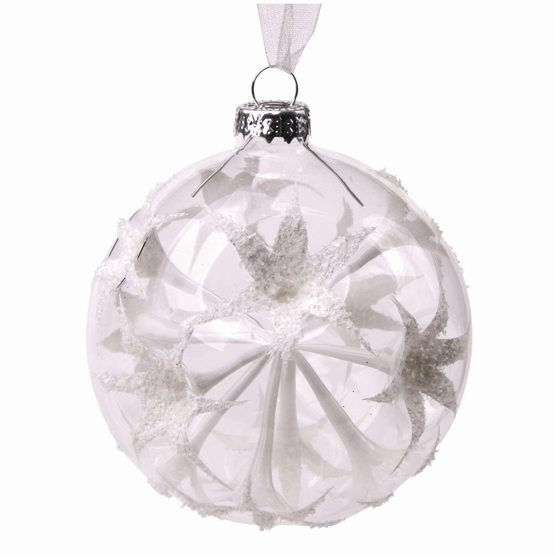 """Шар елочный стеклянный """"Белые цветы"""", диаметр 8 см, с рисунком (глянец), 75846"""
