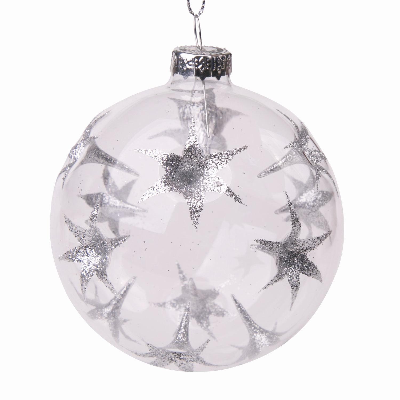 """Шар елочный стеклянный """"Серебряные цветы"""", диаметр 8 см, с рисунком (глянец)"""