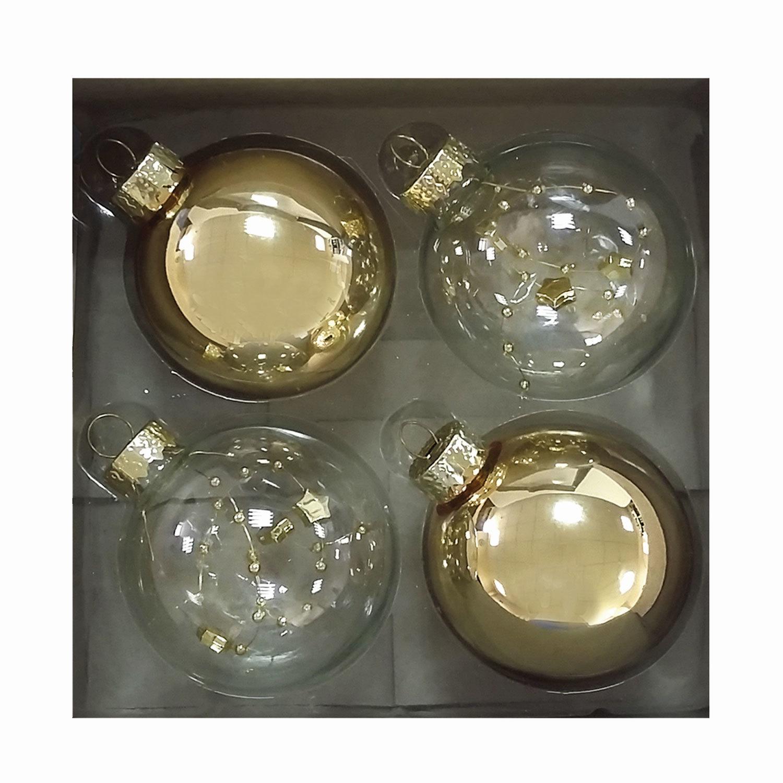 Шары елочные, набор 4 шт., стекло, диаметр 6 см, с рисунком, ассорти 2 цвета (глянец)