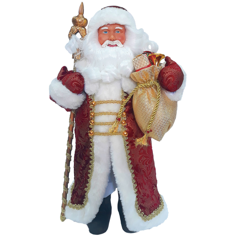 Дед Мороз декоративный, пластик/ткань, высота 41 см, в бордовой шубе